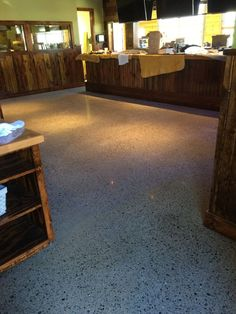 Large Aggregate Polished Concrete in Restaurant in Cabot Arkansas.