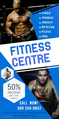 Custom Printable Blue Fitness Rollup Banner Template Gym Banner Workout Posters Gym Workouts