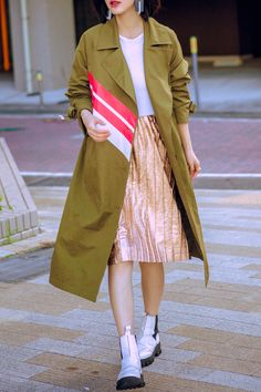 Colorful Striped Wrap Trench Coat