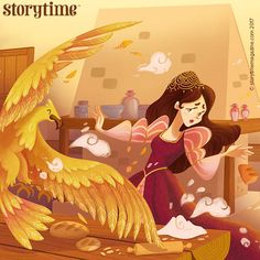 In Storytime Issue 37, a lovely tale from Portugal featuring a golden eagle that abducts a princess! Art by Giulia Baratella (https://www.giuliabaratella.it) ~ STORYTIMEMAGAZINE.COM