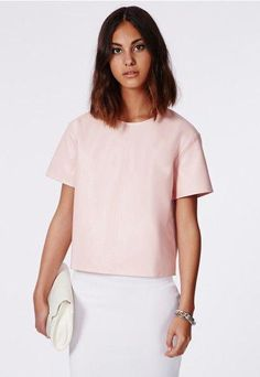 2a36b349c2 don t you think this faux-leather pastel pink top would look amazing with a  collar and some culottes  love incorporating the masculine shapes alongside  ...