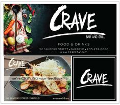 Crave restaurant work sample: billboard, postcard, fb profile image