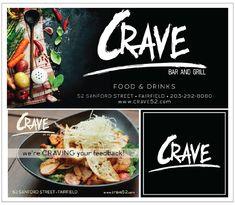 Crave restaurant work sample: billboard, postcard, fb profile image