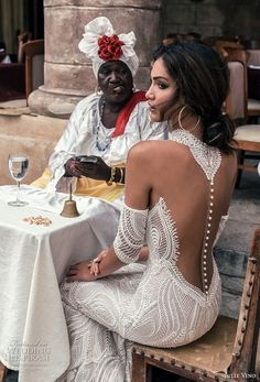 julie vino fall 2018 havana sleeveless halter jewel neck deep plunging sweetheart neck full embellishment elegant sexy fit and flare sheath wedding dress shear button back sweep train zbv -- Julie Vino Fall 2018 Wedding Dresses Sexy Wedding Dresses, Boho Wedding Dress, Wedding Attire, Wedding Gowns, Bridesmaid Dresses, Mermaid Wedding, Pina Tornai Wedding Dresses, Tattoo Wedding Dress, Backless Wedding