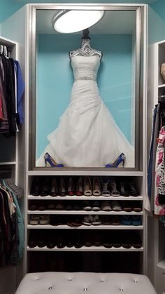 My wedding dress display case in master closet<br> Wedding Dress Shadow Box, Wedding Dress Frame, Wedding Dress Display, Wedding Dress Storage, Wedding Frames, Wedding Dresses, Room Closet, Master Closet, Wedding Dress Preservation