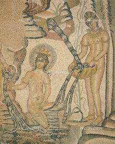 Mosaic depicting Diana surprised by Actaeon whilst bathing, from Timgad (ancient Thamugadi), Algeria, Roman Civilization, 1st-2nd Century, Timgad, Musée De Timgad (Archaeological Museum), DeA Picture Library, licensed by Alinar