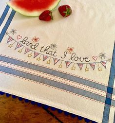 Oh say can you see, any Fourth of July dishes to dry? This fun and fast embroidered dishtowel to make is great for summer kitchens. Red, white and clean! Kit includes one 100% cotton towel, full-size color pattern, ric-rack and floss. Use the little drop down menu under the price to select the kit and/or also order extra towels. See all of the dish towel kits - HERE Heart Quilt Pattern, Sewing Case, Cute Themes, Embroidered Towels, Egg Designs, Missouri Star Quilt, Summer Kitchen, Sewing Basics, Embroidery Kits