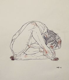 Contorted Figure - 29 x 42 cm - Ink on paper - Inspired by Egon Schiele Figure Drawing, Painting & Drawing, Japon Illustration, Arte Obscura, Arte Sketchbook, Art Graphique, Art Drawings Sketches, Dark Art Illustrations, Art Reference Poses