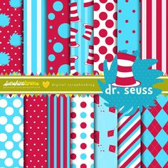 Dr Seuss Digital Paper Pack - Set of 14 Papers Dr. Seuss, Digital Scrapbook Paper, Digital Papers, Planning, The Design Files, Printable Paper, Paper Crafts, Etsy, Prints