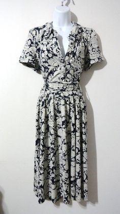 Anthropologie Lapis Printed Dress Vintage Sundress Career Pinup Large L #lapis #VintageDress #Cocktail