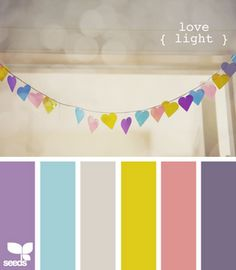 Cute colors for a girls room. I would just replace the greenish yellow with a light yellow