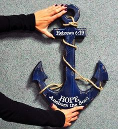 Rustic anchor wall decor adds instant nautical mood to your home or cottage; distressed finish in worn navy with aged look; wide x tall, wood anchor is trimmed with rope.Hebrews Hope Anchors the Soul. Wood Anchor, Nautical Anchor, Nautical Theme, Anchor Wall Decor, Diy Home Improvement, Coastal Decor, Christian, Decorating, Anchors