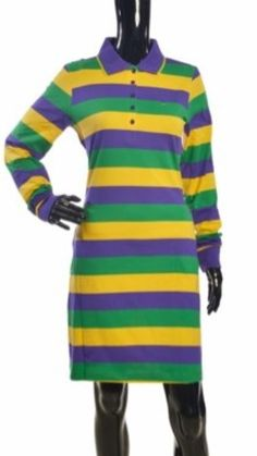 54220b64 Poree's Embroidery · Products · The Traditional Mardi Gras Striped Polo  Shirt Dress