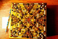 Jewellery/trinket box. Wooden base, acrylic paint, acrylic varnish, Czech glass beads, jewellery glue.