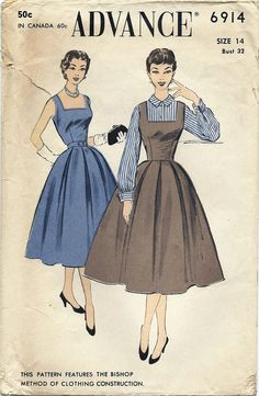 Vintage Advance Pattern, 1950s, Misses Jumper Dress and Blouse, Size 14, Pattern 6914, Non Printed Pattern, Free Shipping, Paper Ephemera, Sewing, Women. $35.00, via Etsy.