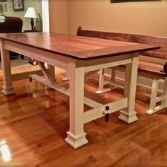 Farmhouse Table Bench With Back