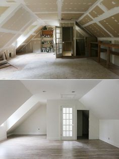 Before and After: finished studio space / jones design company Attic Master Bedroom, Attic Bedroom Designs, Tiny House Bedroom, Attic House, Tiny House Cabin, Attic Design, Attic Rooms, Attic Spaces, Studio Spaces