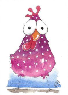 ACEO Original watercolor painting whimsical bird illustration pink chicken #IllustrationArt
