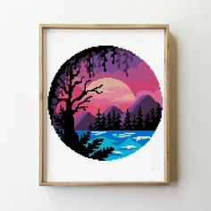 Tiny Cross Stitch, Cross Stitch Boards, Counted Cross Stitch Patterns, Cross Stitch Designs, Cross Stitch Embroidery, Embroidery Patterns, Cross Stitch Landscape, Cross Stitching, Pixel Art
