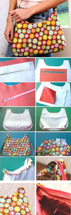 Tendance Sac 2018 : Description Bag with zipper. Sew Tutorial www.handmadi… - Best DIY and Crafts 2019 Bag Pattern Free, Bag Patterns To Sew, Sewing Patterns, Pouch Pattern, Clothes Patterns, Quilt Patterns, Sewing Projects For Beginners, Sewing Tutorials, Sewing Tips
