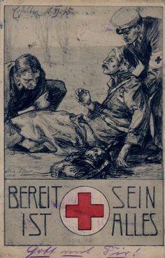 German Red Cross Postcard 1914 Leipzig