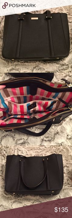 Kate Spade Black Handbag Classic Kate Spade handbag with fun, bright lining. Small scuff on front of bag, see 4th picture. 100% cow leather excluding hardware and lining. Two zip compartments with one magnetic closure in the middle. kate spade Bags Satchels