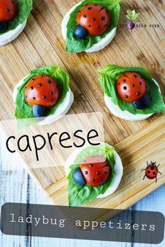 Ladybug Appetizers, Caprese Appetizer, Easter Appetizers, Appetizer Recipes, Caprese Salad, Recipes Dinner, Food Salad, Party Platters, Food Platters