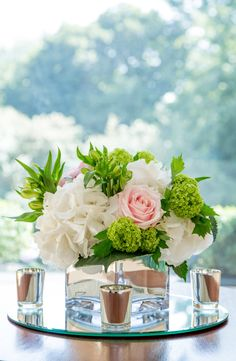 Mirror cube with white hydrangea, sweat avalanche roses, vibernam and alstroemeria Wedding Bouquets, Wedding Flowers, Hydrangea, Summer Wedding, Floral Arrangements, Cube, Roses, Display, Table Decorations