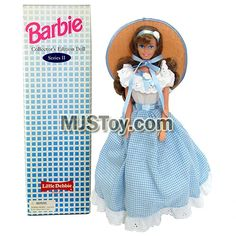 Year 1995 Barbie Collector Edition Series 12 Inch Doll - LITTLE DEBBIE in Blue White Checker Dress with Straw Hat, Hairbrush and Doll Stand Checker Dress, Barbie Skipper, Hairbrush, Doll Stands, Barbie Collector, Blue And White, Dolls, Hats, Clothing
