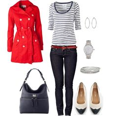 I know you hate stripes, but this look with a red cardigan or blazer would be adorable.  You could interchange a dark boot cut instead.