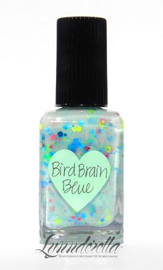 BirdBrain Blue has scattered cyan, turquoise, magenta, neon blue and green, neon pink and pastel satin aqua glitters in a soft, translucent robin's egg aqua base with matching shimmer.