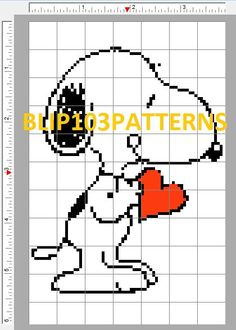 Peanuts Snoopy Valentine's Counted Cross Stitch by Blip103patterns, $2.00