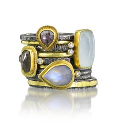 Lovely stack of handmade rings by Jenny Foulkes jewelry. Raw Diamond Rings, Aquamarine Rings, Moonstone Ring, Gemstone Rings, Jewelry Rings, Fine Jewelry, Jewellery, Handmade Rings, Rustic Elegance