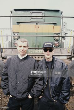 Singer Neil Tennant (left) and keyboard player Chris Lowe of electronic pop duo the Pet Shop Boys, Prague, May 1991.