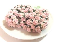 20 Mini Light Pink Roses Mulberry Paper Flowers Wedding Card Scrapbook Dolls15mm #Handmade