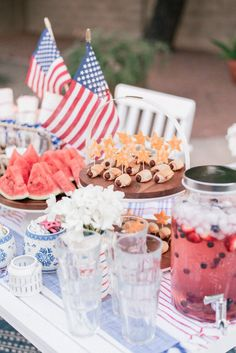 4th Of July Celebration, 4th Of July Party, Fourth Of July, Old Fashioned Cherries, Blue Party Decorations, Serving Table, Patriotic Party, Bbq Party, Party Treats