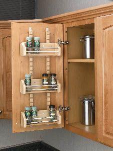 Adjustable Door Mount Wood Spice Rack - RTA Kitchen Cabinets