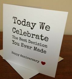 Funny happy birthday husband anniversary cards ideas for 2019 Anniversary Cards For Husband, Marriage Anniversary, Anniversary Funny, Wedding Anniversary Gifts, Anniversary Greetings, Cute Anniversary Ideas For Him, Wedding Gifts, Romantic Anniversary, Second Anniversary