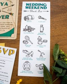 This couple provided an illustrated packing checklist along with their invites