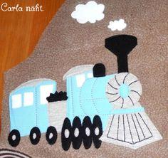 Applikation Eisenbahn Dampflok Vorlage kostenfrei free applique pattern steam locomotive train