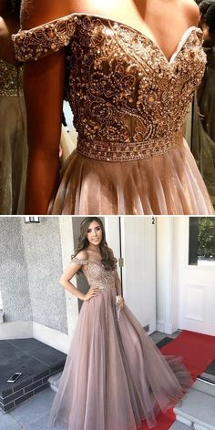 gorgeous off the shoulder prom dress, beading long prom dress, champagne tulle prom dress by Miss Zhu Bridal, $159.00 USD