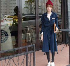 ジャケット - カジュアルな印象のロング丈の襟付きデニムジャケット