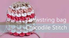 Learn How To Crochet Drawstring bag Crocodile Stitch - Crochet Winter Crochet Hook Sizes, Crochet Motif, Crochet Stitches, Crochet Patterns, Quick Crochet, Learn To Crochet, Veronika Hug, Braidless Crochet, Crochet Drawstring Bag