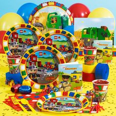 If you're planning a LEGO party the LEGO Ville party supplies are perfect for the younger crowd. You can use these for a LEGO party, a LEGO Ninjago party, or for a fireman, or construction pa… Lego Party Supplies, Lego Party Games, Lego Themed Party, Birthday Supplies, 5th Birthday Party Ideas, Kids Party Themes, Boy Birthday, Happy Birthday, Birthday Parties