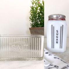 Sweet & Salty, Farmhouse Kitchen Decor vintage etched glass salt cellar and McKee milk glass sugar shaker art deco