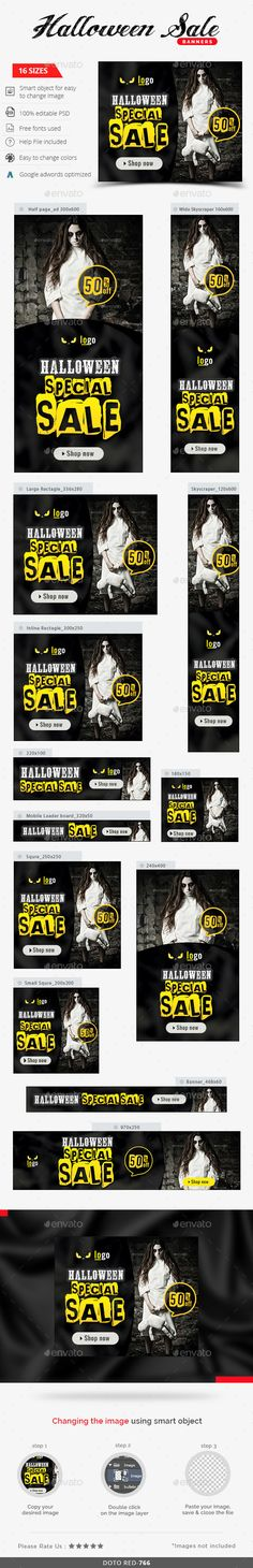 Halloween Sale Web Banners Template PSD #ads #design Download: http://graphicriver.net/item/halloween-sale-banners/13303594?ref=ksioks