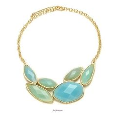 """Get the look of sea glass with these ocean inspired hues. This statement necklace was picked especially for our spring/summer   19-22"""" long"""