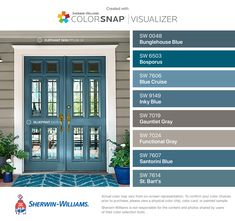 Shown (door) Blueprint, (wall) Elephant Skin. ColorSnap® Visualizer for iPhone by Sherwin-Williams: Bunglehouse Blue (SW Bosporus (SW Blue Cruise (SW Inky Blue (SW Gauntlet Gray (SW Functional Gray (SW Santorini Blue (SW St. Front Door Paint Colors, Exterior Paint Colors For House, Painted Front Doors, Bedroom Paint Colors, Paint Colors For Home, Blue Front Doors, Outdoor House Colors, Blue Doors, House Shutter Colors