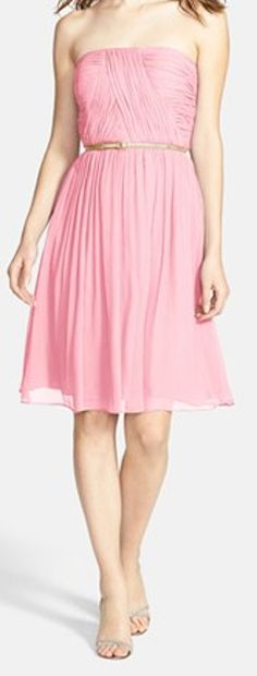 Belted chiffon #bridesmaid dress http://rstyle.me/n/f58d4nyg6