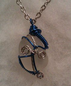 Blue and Silver Wire Wrapped Snowy White Sea by MermaidsCavern, $18.00